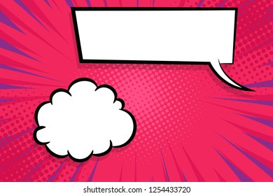 Retro design template. Isolated vector illustration. Comic text dialog box cloud. Speech bubble tag. Vector pink template, blank. Information message. Empty white background. Outline style.