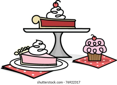 Retro Dessert Illustration of Slices of Pie and a Cupcake
