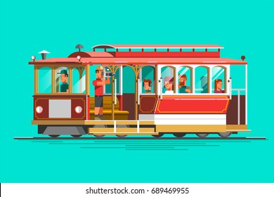 Retro detailed vector cable car, 3d view, isolated. Transit vintage graphic element on cable rail car. Urban lifestyle, touristic and sightseeing graphic design.