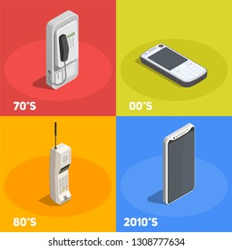 Retro devices 2x2 design concept with telephones from various decades isolated on colorful background 3d vector illustration