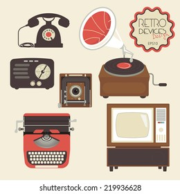 Retro devices collection of tv, radio, gamepad, audio cassette, mobile phone, typewriter and pc