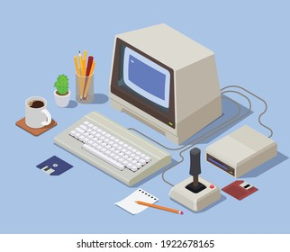 Retro devices isometric background with personal computer consisting from system unit monitor keyboard and attached joystick vector illustration