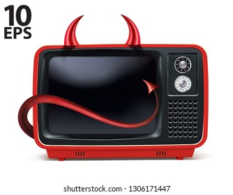 Retro devils TV, vintage television isolated on white. Realistic creative Vector 3d illustration