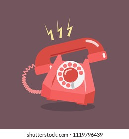 Retro Dial Telephone are Ringing. Vector illustration
