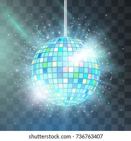 Retro disco ball teal vector, shining club symbol of having fun, dancing, dj mixing, nostalgic party, entertainment. Illustration on transparent background. Projector lights reflect in mirror surface.
