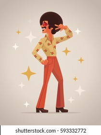 Retro disco dancer character. Vector flat cartoon illustration