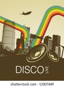 Retro Disco Music City Poster