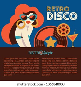 Retro disco party. Vector illustration, poster in retro style. Beautiful girl with sunglasses and a vinyl record.