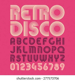 Retro disco style alphabet and numbers. Vector.