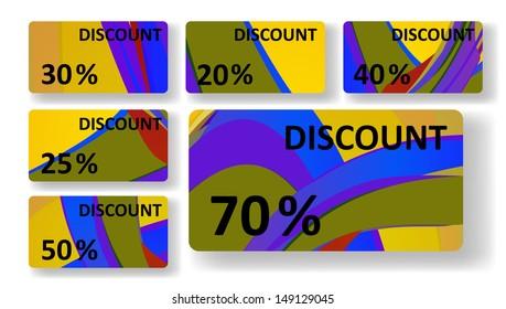 Retro discount cards, colorful digital Illustration.
