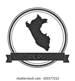 Retro distressed insignia with Peru map. Hipster round rubber stamp with country name banner, vector illustration