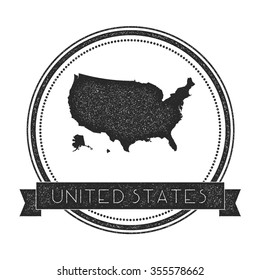 Retro distressed insignia with United States map. Hipster round rubber stamp with country name banner, vector illustration