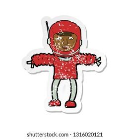 retro distressed sticker of a cartoon astronaught