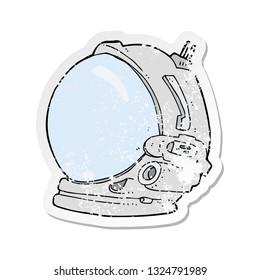 retro distressed sticker of a cartoon astronaut helmet