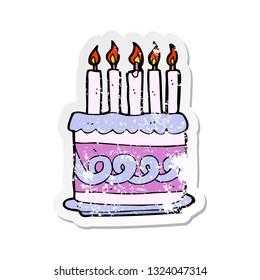 Retro Distressed Sticker Of A Cartoon Cake