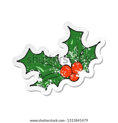 Christmas Holly Cartoon.Retro Distressed Sticker Cartoon Christmas Holly Stock