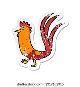 retro distressed sticker of a cartoon cockerel