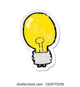 retro distressed sticker of a cartoon electric light bulb