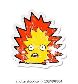 retro distressed sticker of a cartoon explosion