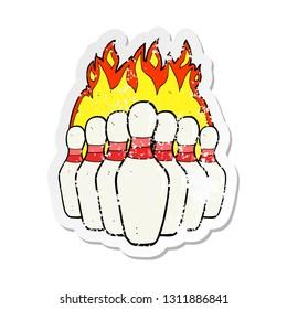 retro distressed sticker of a cartoon flaming skittles