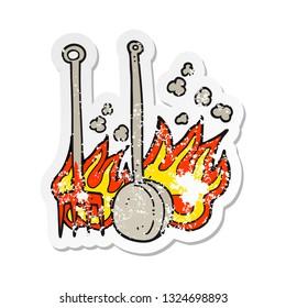 retro distressed sticker of a cartoon hot fireside tools
