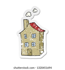 retro distressed sticker of a cartoon house