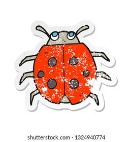 retro distressed sticker of a cartoon ladybug
