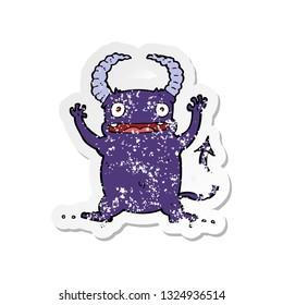 retro distressed sticker of a cartoon little devil