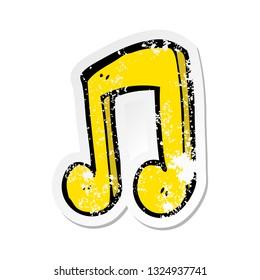retro distressed sticker of a cartoon musical note