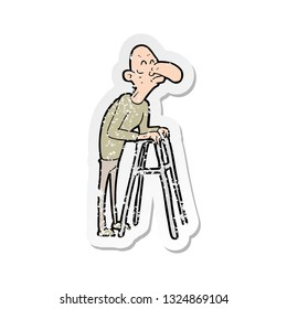 retro distressed sticker of a cartoon old man with walking frame