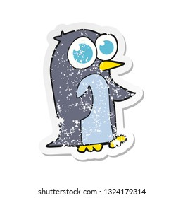 retro distressed sticker of a cartoon penguin with big eyes