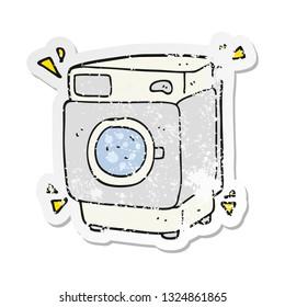 retro distressed sticker of a cartoon rumbling washing machine