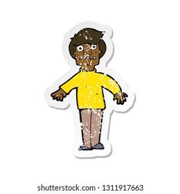 retro distressed sticker of a cartoon shocked man