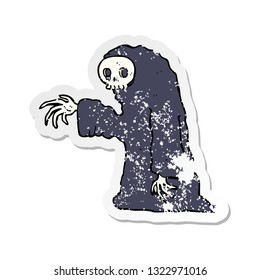retro distressed sticker of a cartoon spooky halloween costume