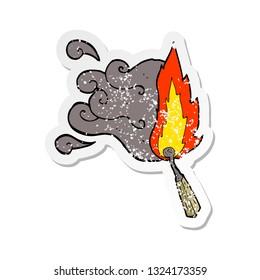 retro distressed sticker of a cartoon struck match