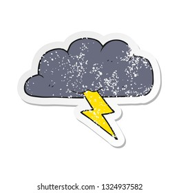 retro distressed sticker of a cartoon thundercloud