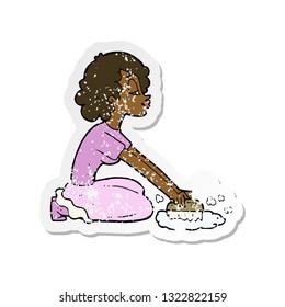 retro distressed sticker of a cartoon woman scrubbing floor