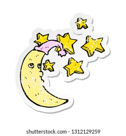 retro distressed sticker of a sleepy moon cartoon
