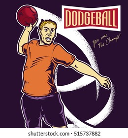 Retro dodgeball player throwing a ball vector illustration. Isolated artwork object. Suitable for and any print media need.