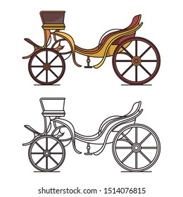 Retro dog cart or classic carriage, vintage open chariot, antique wedding wagon, medieval vehicle or calash, dog-cart or phaeton outline. Icon of cartoon cab. Victorian and coachman, wheel theme