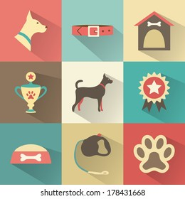 Retro dog icons set. Vector illustration for web, mobile application design. Pet animal silhouette. Profile canine head, full, collar, kennel, cup, medal, award, bowl of food, leash, bone, footprint.