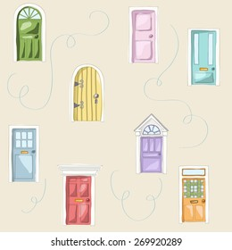 Retro door seamless pattern. Vector pattern of doors. Cute doors of home, apartment and others buildings.Sweet hand drawing illustration. Pink, yellow, green, red, blue.