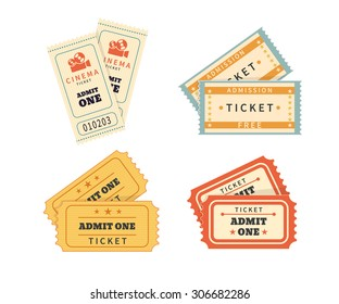 Retro double tickets set. Temlates for cinema and other events. Text outlined