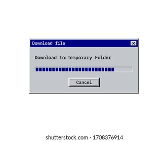 Retro download bar, alert window mockup in classic style, old system user interface of copy or saving process. Vector dialog screen with cancel button.