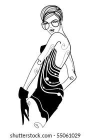 Retro dress fashion illustration