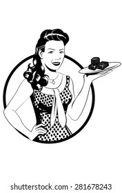 A retro dressed female illustration design with a plate of brownies./Natalie