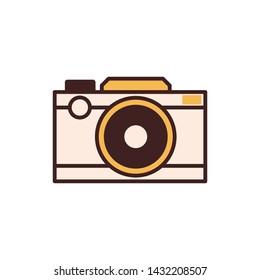 Retro DSLR camera line icon. Photocamera in line art.