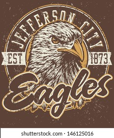 """Retro """"Eagles"""" athletic design complete with retro eagle mascot vector illustration, vintage athletic fonts and matching textures (all on separate layers, of course)."""