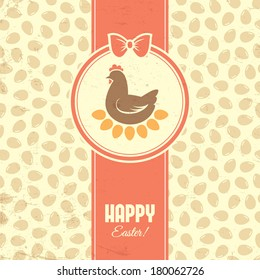 Retro easter card with hen, eggs and seamless pattern on background