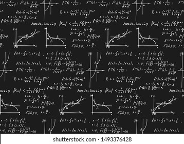 Retro education background. Trigonometry law theory, mathematical formulas and equations on chalkboard. Vector hand-drawn seamless pattern on blackboard.